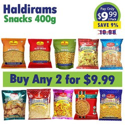 Buy Any 2 Haldirams 400g snacks for $9.99