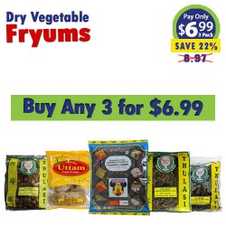 Buy Any 3 Dry Vegetable Fryums for $6.99
