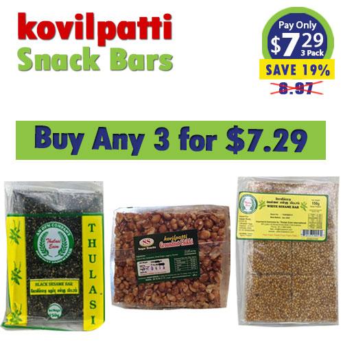 Buy any 3 kovilpatti snack bars for $7.29