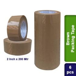 6pcs Brown Self Adhesive Packing Packaging Tape 2 inch 200m