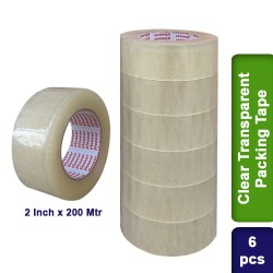 6pcs Clear Transparent Packing Packaging Self Adhesive Tape 2 inch 200m