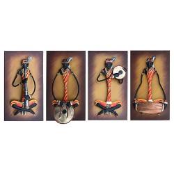 Adivasi Female Musician Set Of 4 (Color Background), 16 X 09 Inch