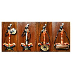 Adivasi Female Musician Set Of 4 (Wooden Background Small), 06 X 08 Inch
