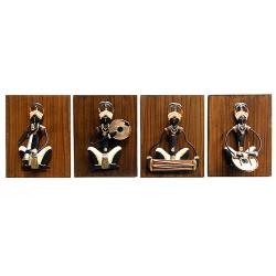 Adivasi Male Musician Set Of 4 (Small), 06 X 08 Inch