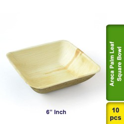 Areca Palm Leaf 6 Inch Square Bowl 10pcs