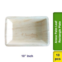 Areca Palm Leaf Plate 10 Inch Rectangle CP 10pcs