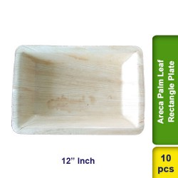 Areca Palm Leaf Plate 12 Inch Rectangle CP 10pcs