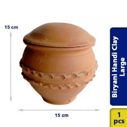 Biryani Handi Earthen Clay Medium with Lid 15 x 15 cm