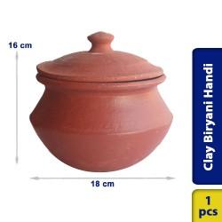 Biryani Handi Earthen Clay Large with Lid 18 x 16 cm