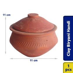 Biryani Handi Earthen Clay Small with Lid 11 x 11 cm
