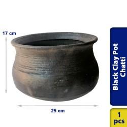 Black Earthen Clay Pot Chatti Handi Large 25 x 17 cm