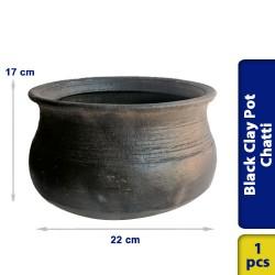 Black Earthen Clay Pot Chatti Handi Medium 22 x 17 cm