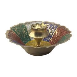 Brass Agarbathi Incense Stick Stand Multicolour Floral Design