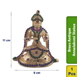 Brass Antique Annalaksmi Sitting Statue figurine Hindu BS120