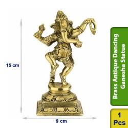 Brass Antique Dancing Ganesha Statue Figurine Hindu BS125