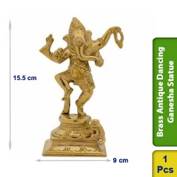 Brass Antique Dancing Ganesha Statue figurine Hindu BS106