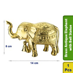 Brass Antique Elephant with Bell Statue figurine Vintage BS101