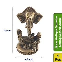 Brass Antique Ganesha Sitting Seated Statue figurine Hindu BS117