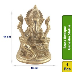 Brass Antique Ganesha Sitting Seated Statue figurine Hindu BS121