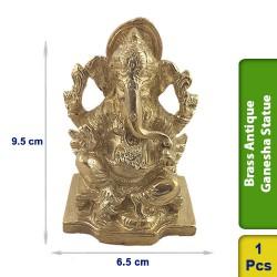 Brass Antique Ganesha Sitting Seated Statue figurine Hindu BS122