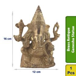 Brass Antique Ganesha Sitting Seated Statue figurine Hindu BS123