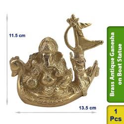 Brass Antique Ganesha on Boat Statue Figurine Hindu BS104