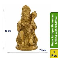 Brass Antique Hanuman Sitting Seated Statue figurine BS100
