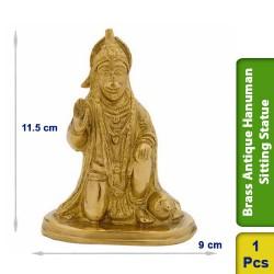 Brass Antique Hanuman Sitting Seated Statue figurine BS109