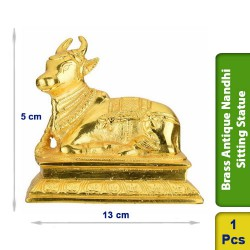 Brass Antique Nandhi Sitting Seated Statue figurine BS111