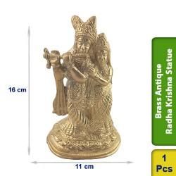 Brass Antique Radha Krishna Statue figurine Hindu BS124