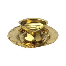 Brass Diya with attached Plate