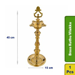 Brass Kuthu Vilakku Traditional Ornamental Tall Puja Lamp 45cm M104