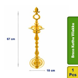 Brass Kuthu Vilakku Traditional Ornamental Tall Puja Lamp 67cm M102
