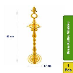 Brass Kuthu Vilakku Traditional Ornamental Tall Puja Lamp 80cm M100