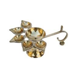 Brass Pancha Diya Arathi Stand