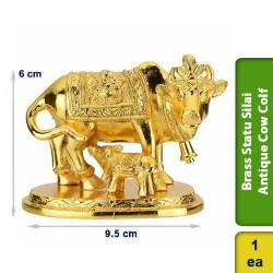 Brass Statue Silai Antique Cow Colf