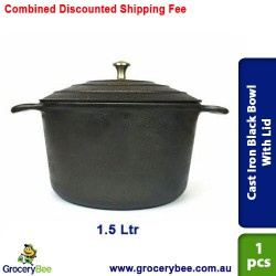 Cast Iron Black Bowl With Lid Pre Seasoned 1.5 Ltr