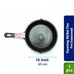 Cast Iron Opening Skillet Pan Pre Seasoned