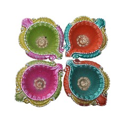Clay Diya Colour M6 Set of 4