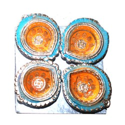Clay Diya Colour M8 Set of 4