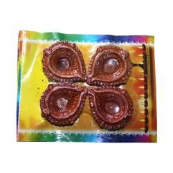 Clay Diya Decorated Set of 4