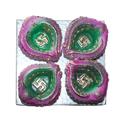 Clay Diya Colour M1 Set of 4