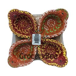 Colourful Diya Tray Without Wax 6351
