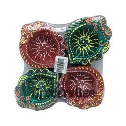 Colourful Diya Tray Without Wax 6352