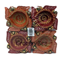Colourful Diya Tray Without Wax 6353