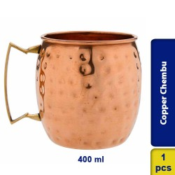 Copper Round Hammered Moscow Mule Beer Mug with Handle 400ml
