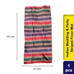 Cotton Vintage Indian Wedding & Party Striped Throw Blanket Floor Mat 85 x 180cm