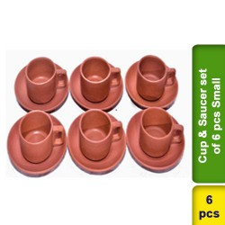 Cup & Saucer Set 6 pcs Earthen Clay