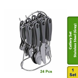Cutlery Set Stainless Steel with Plastic Handles - 24pc (Gray)