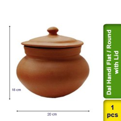 Dal Handi Flat / Round with Lid Earthen Clay